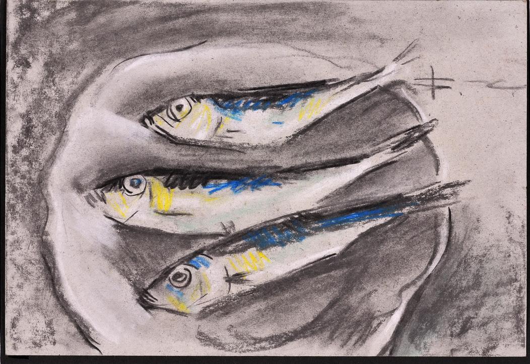 В. Хрущ, «Рыбки», 2000 г., б/см.т., 20,3 х 29,6, Б/см.т. Одесса, Галерея NT-Art