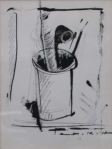 В.Хрущ, «Натюрморт c трубкой», 1977 г., 25х40, б/тушь, МСИО