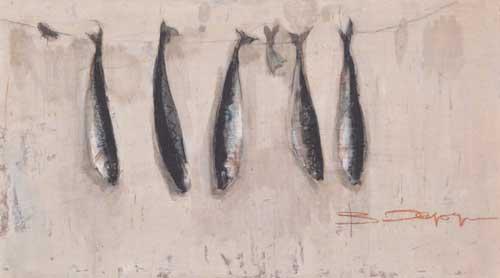 Работа Валентина Хруща - «Рыбки», смешанная техника, 40х69, 1970 г.