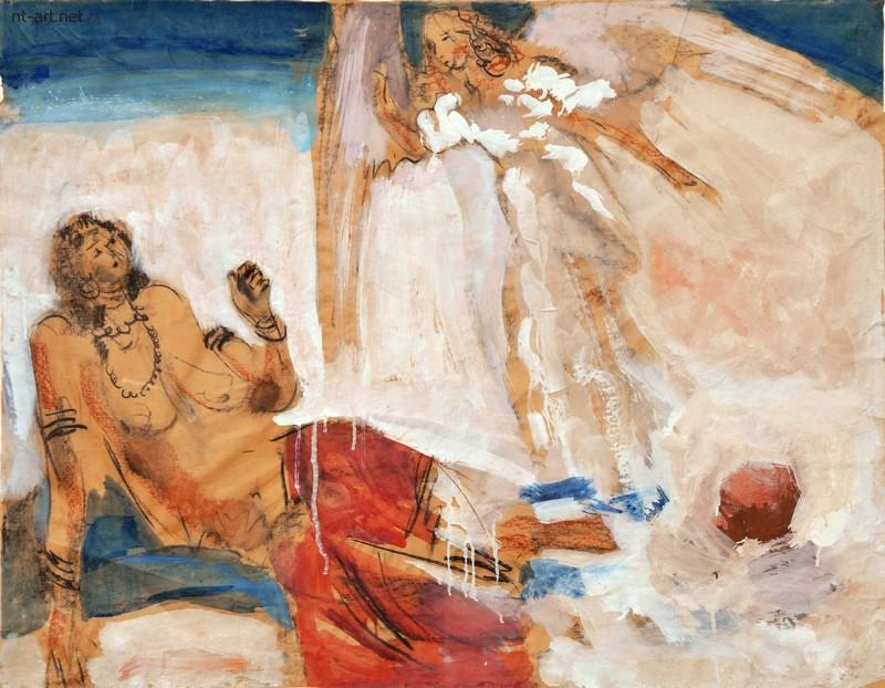 """Валентин Хрущ. """"Благовещение"""", 1989, смешанная техника, 85 х 105см"""