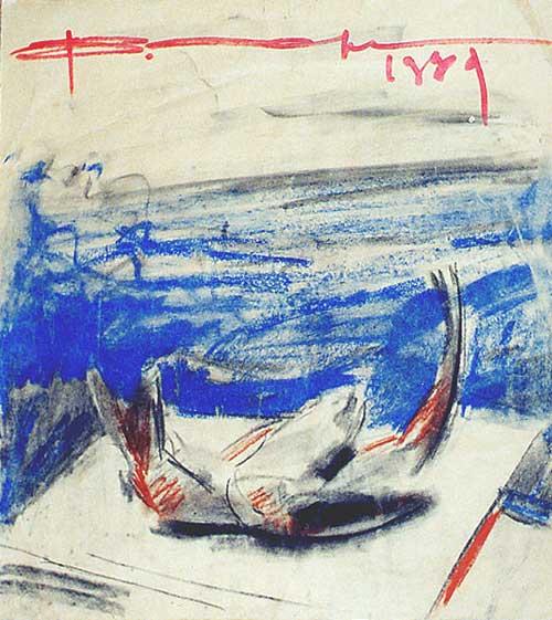 """""""Рыбки и Море"""", гуашь на бумаге, 40 х 37см"""