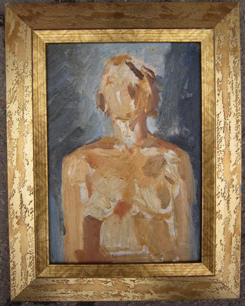 Работа Валентина Хруща - «Женский торс» 32х21 см. картон, масло 1967 г. (работа экспонировалась на заборной выставке в 1967 г.)